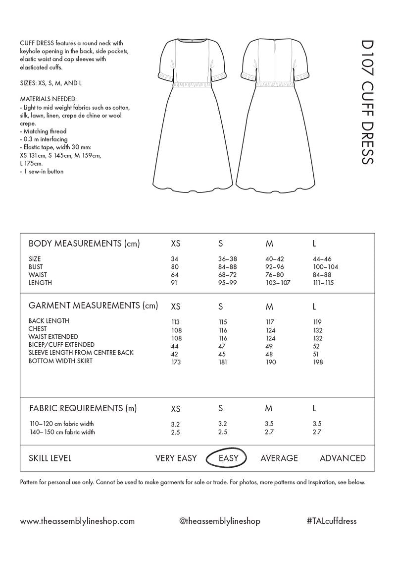 Cuff Dress Pattern- The Assembly Line