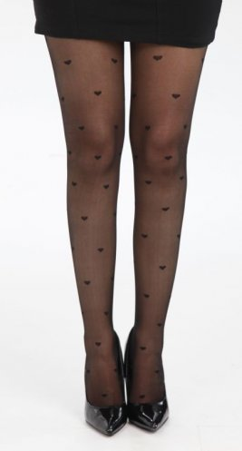 Tights Sheer Hearts Black By Pamela Mann