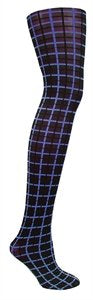 Tights Opaque Royal Blue/Black Grid By Columbine