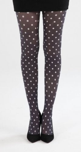 Tights Polka Dot Black with White By Pamela Mann