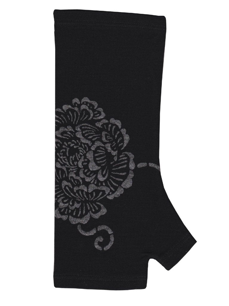 Merino Fingerless Gloves Black Peony Print