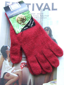 Merino & Possum Gloves in Red & Natural