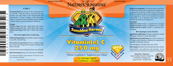 Sunshine Heroes Vitamin C 250 mg (100 chewable tablets)