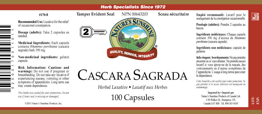 Cascara sagrada and stomach infections