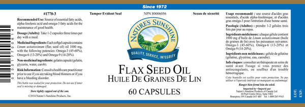Flax Seed Oil (60 caps)