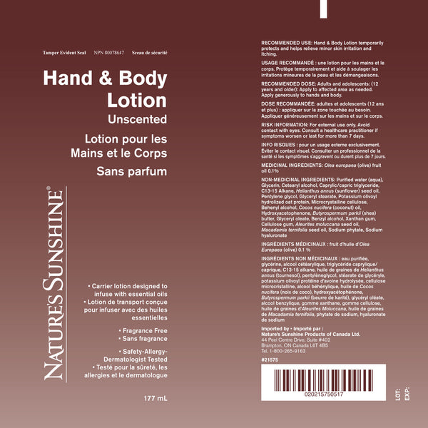 Hand & Body Carrier Lotion (177 ml)