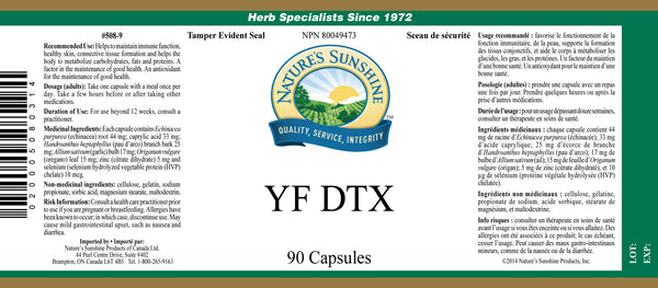 YF DTX (90 capsules) (formerly Yeast/Fungal Detox)