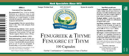 Fenugreek and Thyme (100 caps)