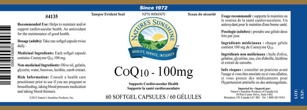 CoQ10 (100 mg) (60 Softgel Caps)