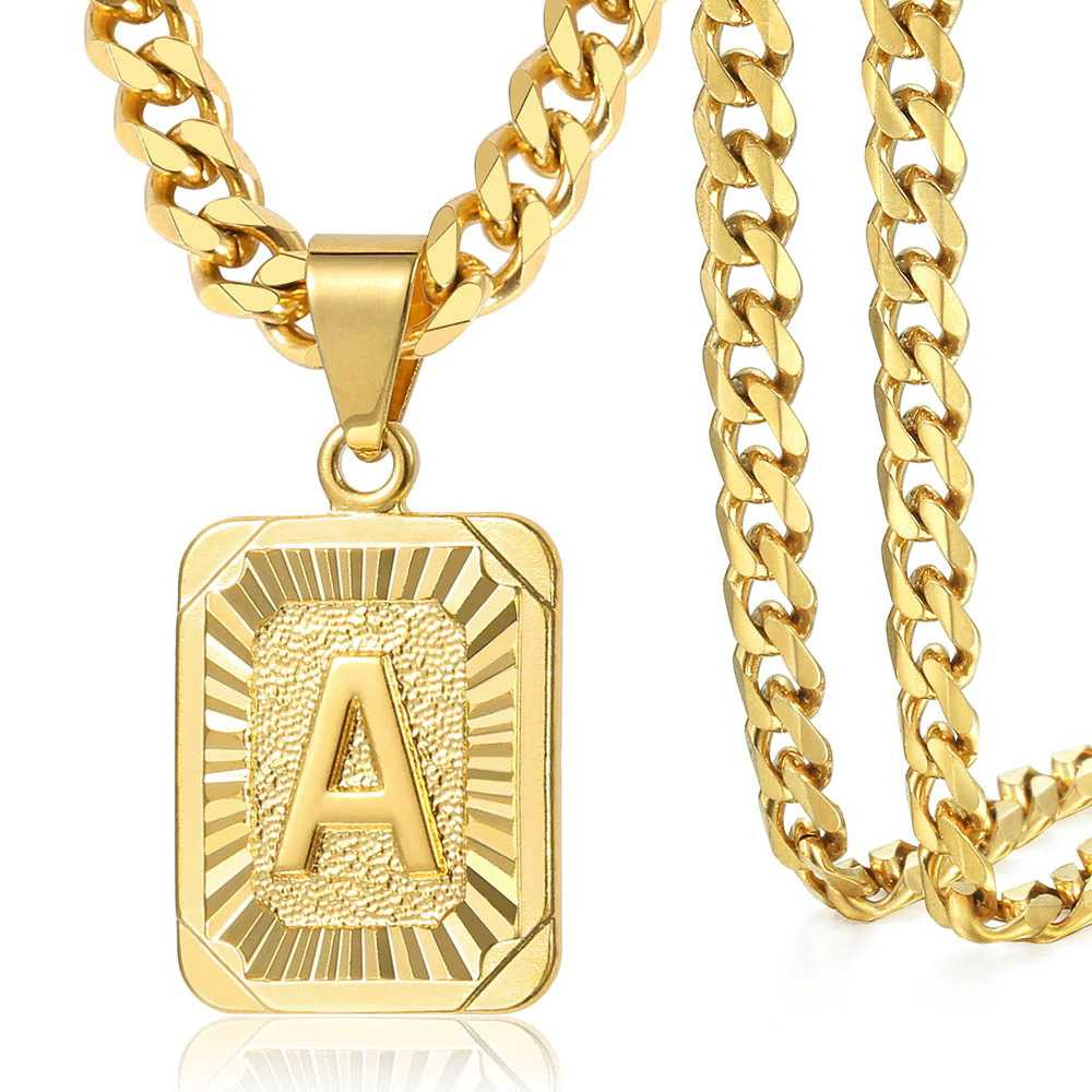 Gold Filled Initial Letter Pendant Charm Necklace for Women Men Cuban Link Chain