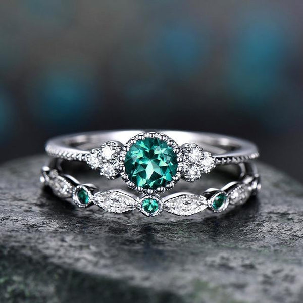 2Pcs/Set Luxury Green Blue Stone Crystal Rings For Women Silver Color Wedding Engagement Rings Jewelry - shopency