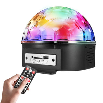9 Color LED Crystal Ball Flashing Stage Lights With Remote MP3 - shopency