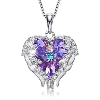 925 Sterling Silver Angel Wings Crystal Heart Pendant Necklace and Earrings from Swarovski® - shopency