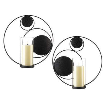 Circular Black Metal Candle Wall Decor Sconces - shopency