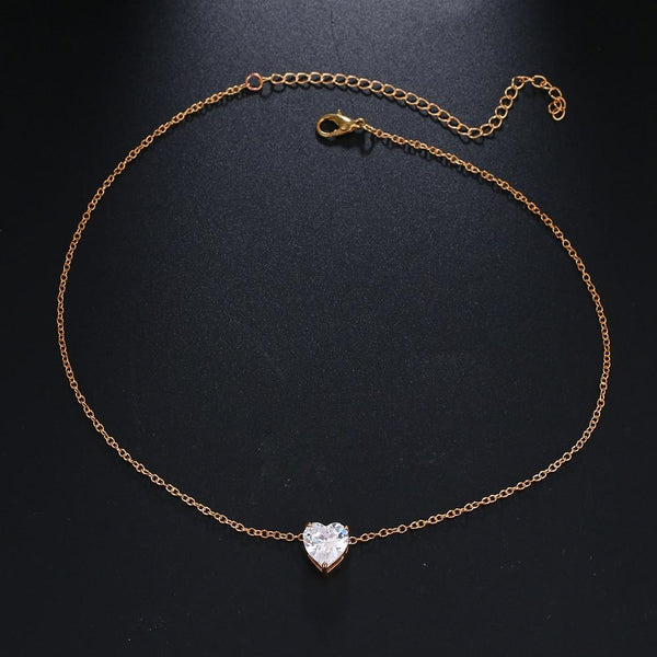 Crystal Heart Pendant Chain Necklace Short Gold Choker Necklace - shopency