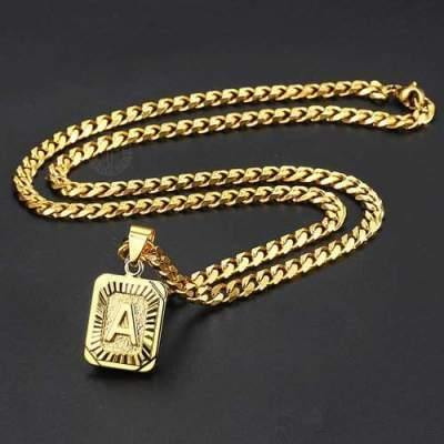Gold Filled Initial Letter Pendant Charm Necklace Jewelry Cuban Link Chain - shopency