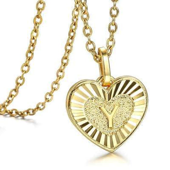 Gold Plated Heart Shaped Love Initial A Z Letter Pendant Charm for Women Girl Fashion Gifts - shopency
