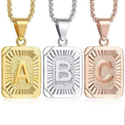 Initial Chain Necklace For Women Men Letter Pendant Charm Necklace Gold Silver Rose Gold Color 22 inch - shopency