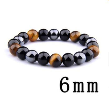 Men's Tiger's Eye Obsidian Hematite Elastic Bracelet - shopency