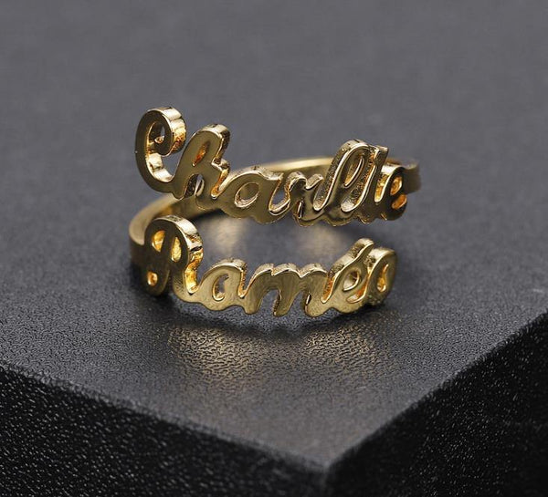 Personalized Double Names Ring - Adjustable  collares - shopency
