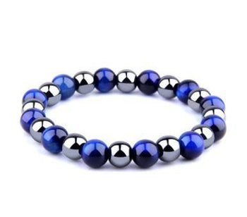 Royal Blue Tiger Eye Bracelet Men's Simple Obsidian Couple Friendship Bracelet - shopency