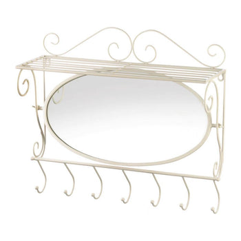 Wall Mirror With Shelf And Hooks - shopency