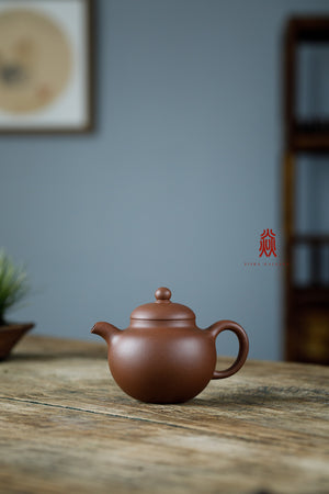 高柿圆 Tall Shi Yuan 180ml 30年底槽清 金林传砂 Jin Lin Chuan Sha Di Cao Qing Zini 杭海. - The Phans Yixing Zisha Teapot