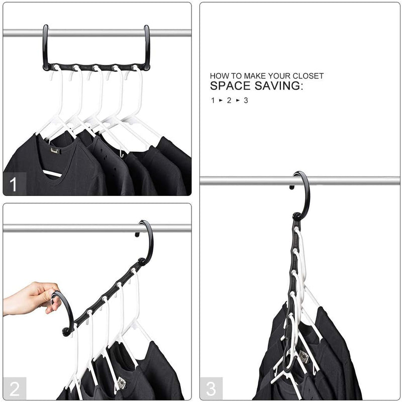 10Pc Space Saver Hanger Hang Clothes Magic Closet Organizer Multi Hook - iPro Accessories