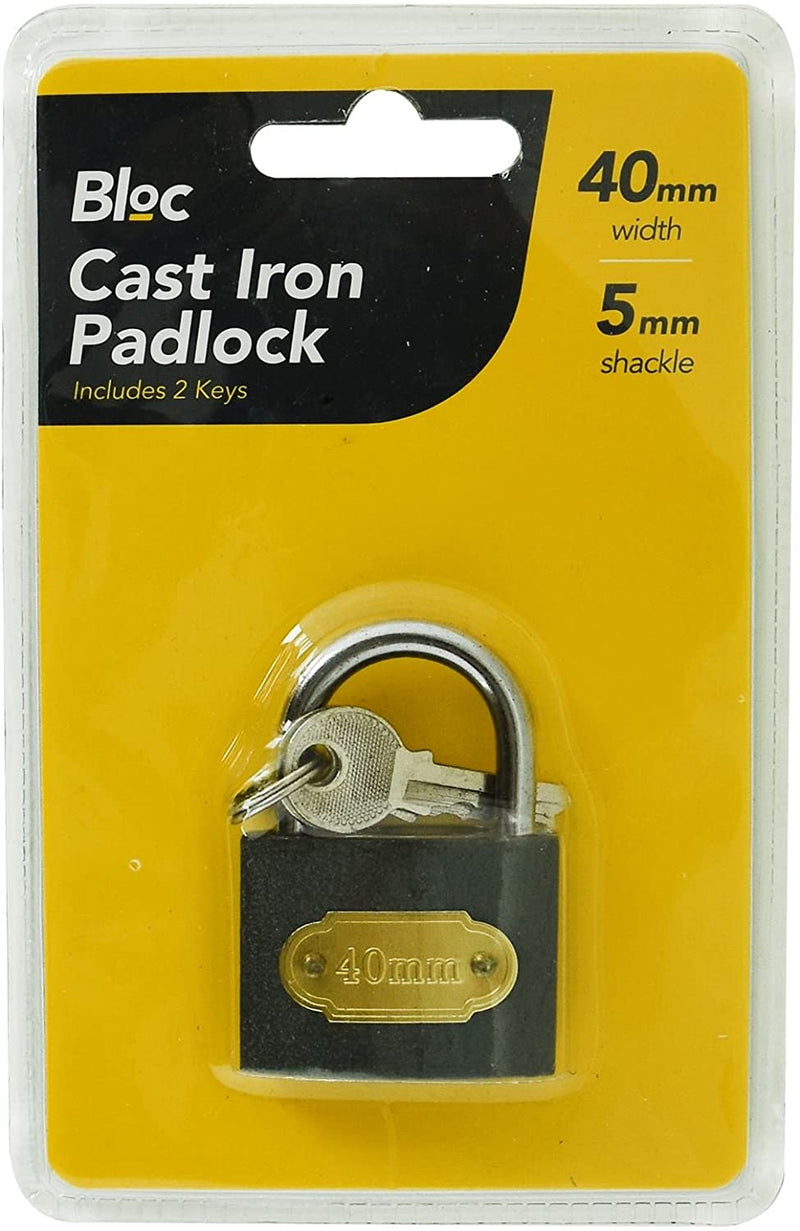 40mm Heavy Duty Cast Iron Padlock Outdoor Safety Security Shackle With 2 Keys - iPro Accessories