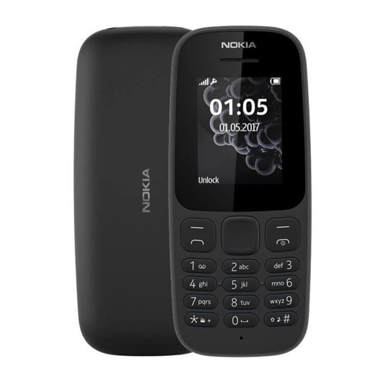 Nokia 105 Unlocked 2017 Black Candy Bar Cheap Mobile Phone