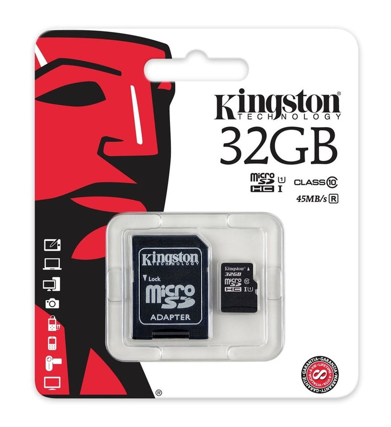 Kingston Technology SDC10G2/32GB 32 GB UHS Class 1/Class10 microSDHCUHS-I Flash Memory Card Included microSDHC to SD Adapter