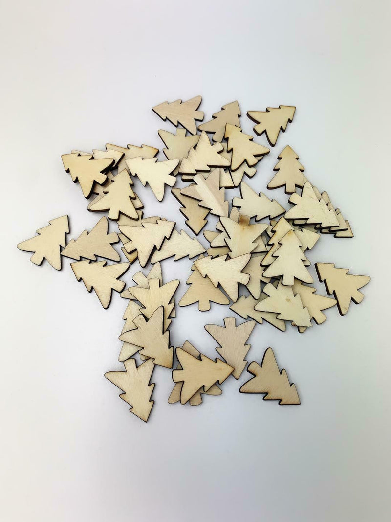 50Pcs Wooden Christmas Tree Decoration Ornament Wall Craft Plain XMAS - iPro Accessories