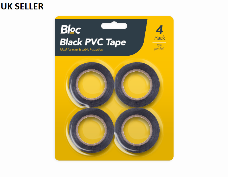 4 Vinyl Black Electrical Tape Insulation Tape PVC 15M Per ROLL - iPro Accessories