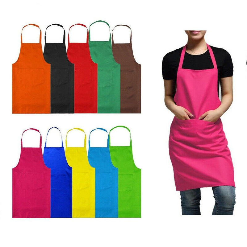 Plain Apron With Front Pockets for Chefs Butchers Kitchen Cooking Craft - iPro Accessories