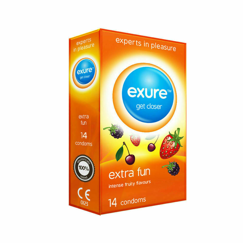 14 Condoms Exure Natural Ribbed Flavoured Safe Condom - iPro Accessories