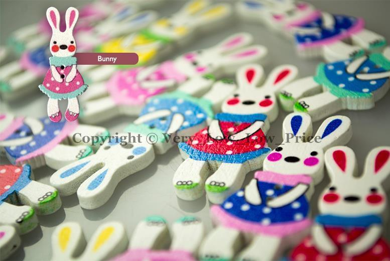Sewing Bunny Buttons 50 Pack - iPro Accessories