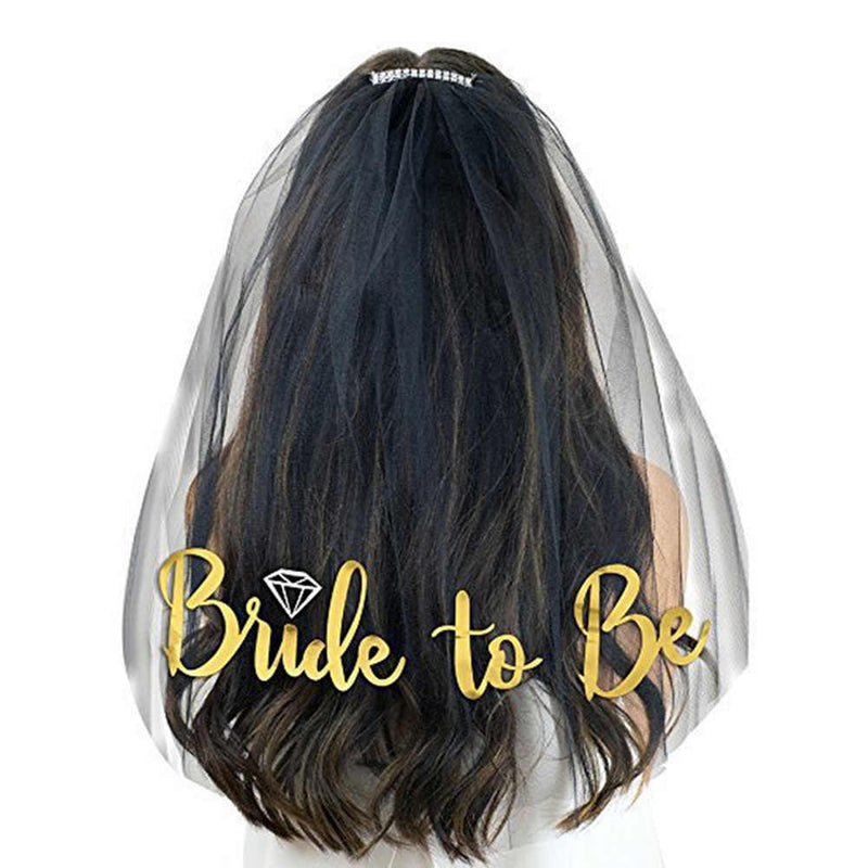 Veil Comb With Gold Bride to Be Hen Night Wedding Party - iPro Accessories