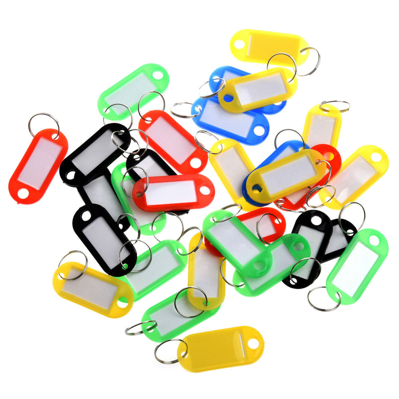 Key Tags Coloured Blank ID Fobs Plastic Identity Keyring Car Metal Rings - iPro Accessories