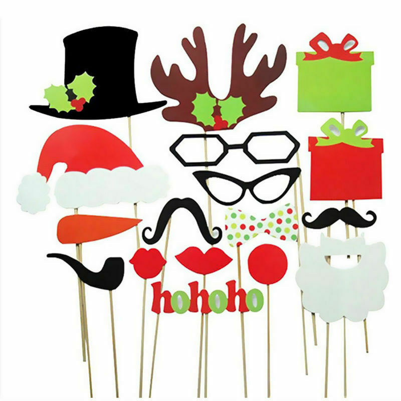 17pcs Christmas Party Xmas Selfie Fun Photo Booth Prop Set - iPro Accessories
