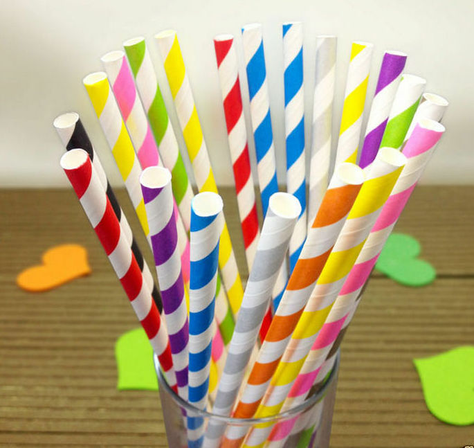 25 Vintage Striped Paper Drinking Straws for Party, Birthday, Wedding, Tableware - iPro Accessories