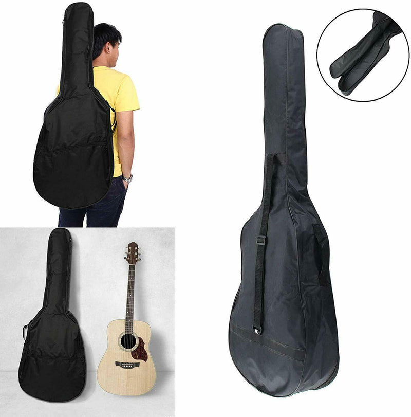 Guitar Bag Case Cover Shoulder with Strap Acoustic Classical Guitar Black - iPro Accessories