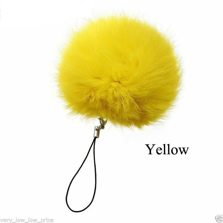 12cm Fur Pom pom Keyring Real Fluffy Handbag Charms Puff Ball Phone Pom Pom - iPro Accessories