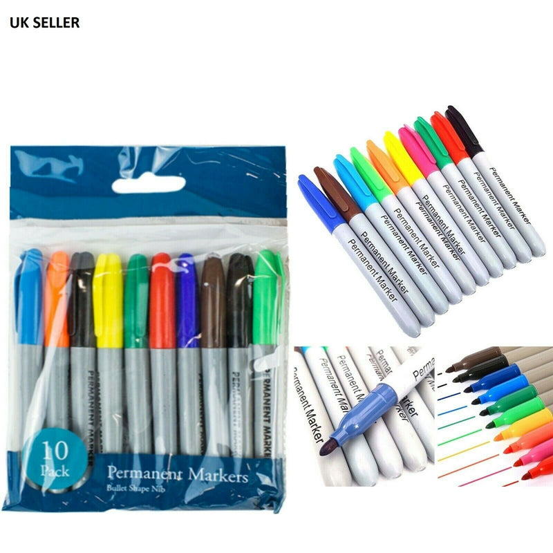 Permanent Marker Pens Multi Assorted Colour Bullet Point 10pcs - iPro Accessories