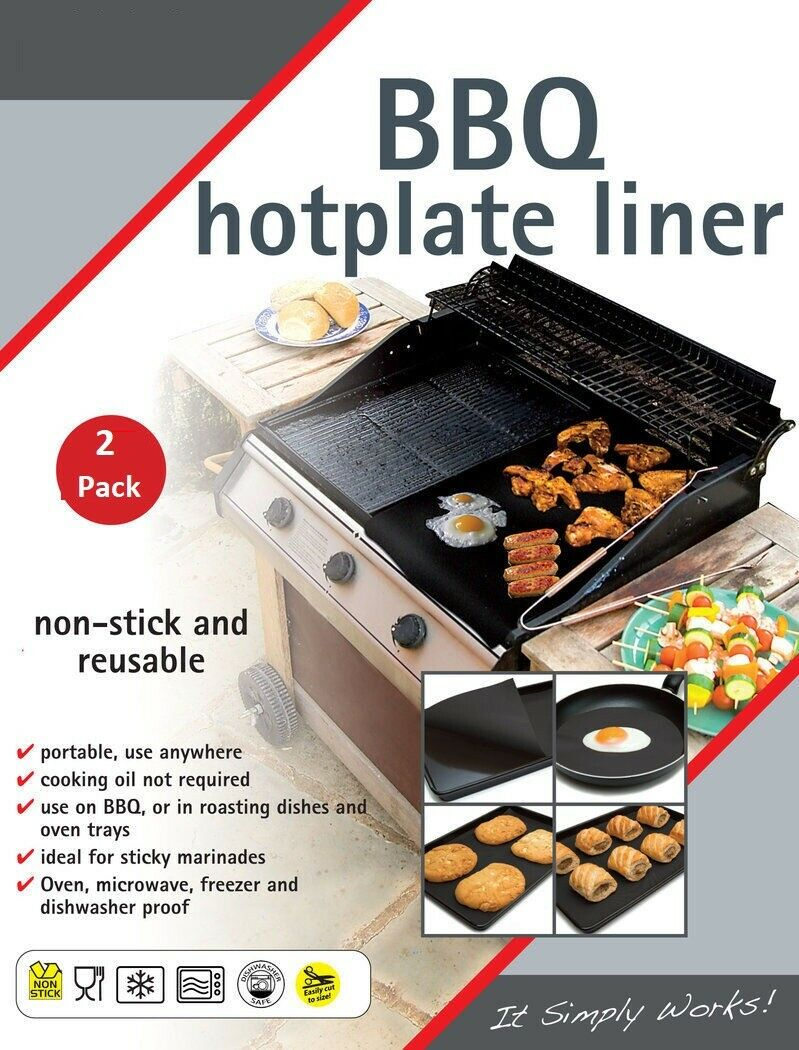 BBQ Hotplate Liners Non Stick Grill Mat Oven Cooking Baking Reusable Sheet Pad - iPro Accessories