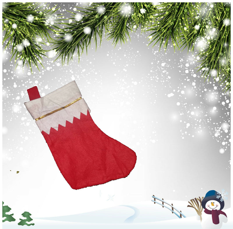 Deluxe Father Christmas Santa Sock Red Stocking Bag - iPro Accessories