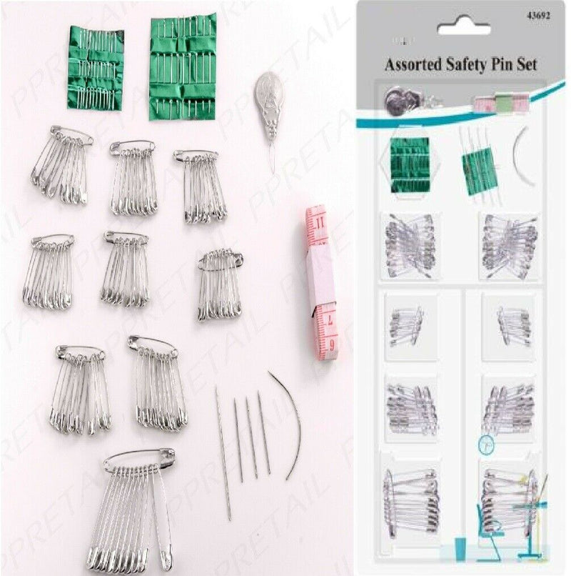 Sewing Set Assorted Sizes Tailoring Kit Safety Pins Needles Tape Measure - iPro Accessories