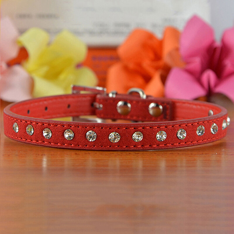 Adjustable Dog Puppy Cat Pet Collars Bling PU Leather Band - iPro Accessories