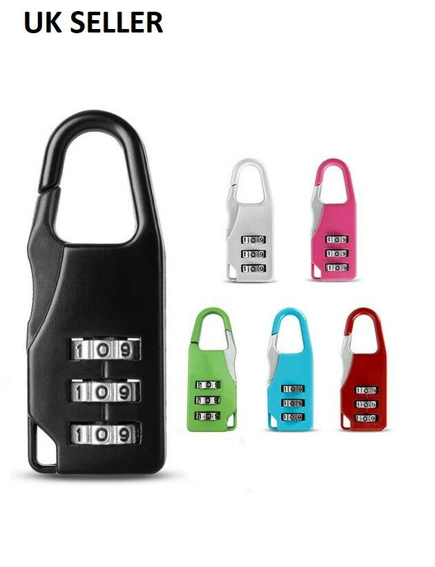 3 Digit Combination Padlock Black Number Luggage Travel Code Lock - iPro Accessories