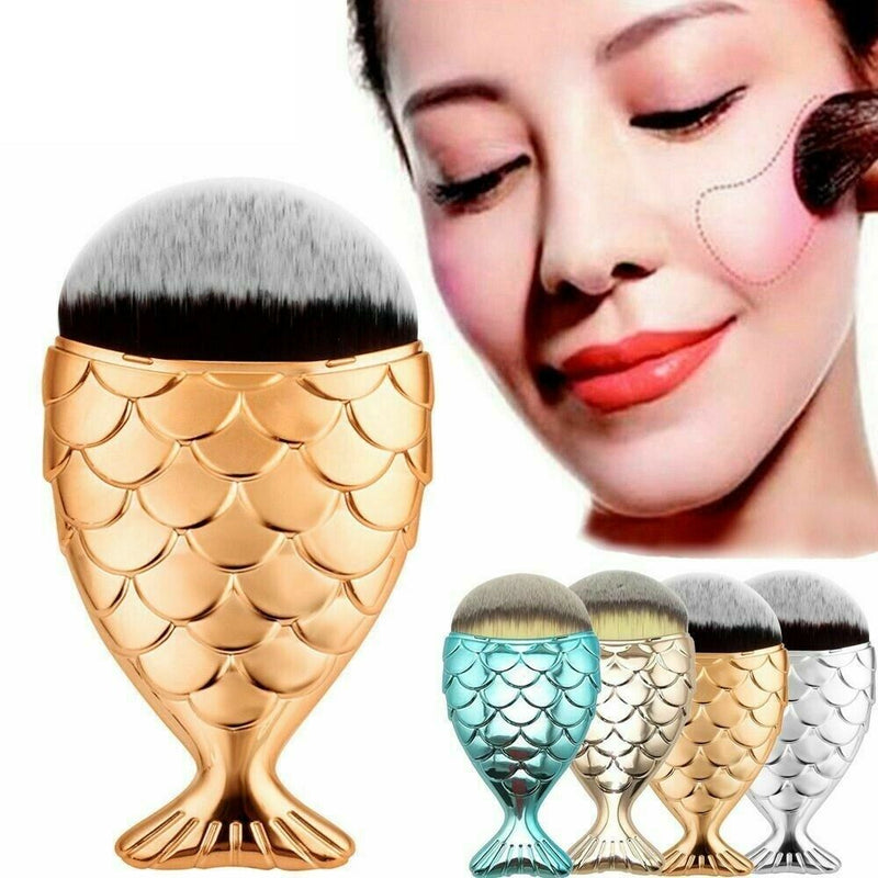 Metallic Mermaid Foundation Makeup Brush Fish Shaped Blending Contour Brush - iPro Accessories