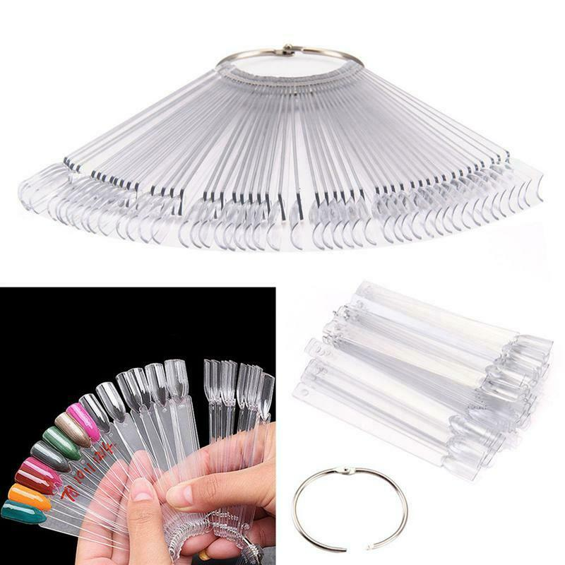 50Pcs Set Polish Nail Art Display Ring Tips Fan off White - iPro Accessories